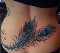 Colorful peacock feathers tattoo on lower back